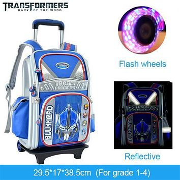 TRANSFORMERS cartoon trolley/wheels school/books/children/kids bag rolling backpack detachable portfolio for boys grade 1-3