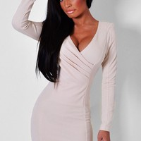 Modesty Nude Front Wrap Mini Dress | Pink Boutique
