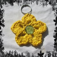 Holiday Special Yellow, Flower with Jewel in the Center Key Chain Handmade and Ready to Ship