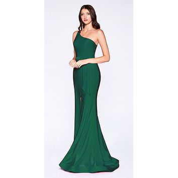 Emerald Green One-Shoulder Long Prom Dress with Slit