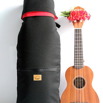 Soprano ukulele case (black canvas)  with ribbon lei / ukulele soft case / ukulele accessories / school / lesson bag / instrument case