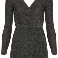 **Long Sleeve Wrap Lurex Playsuit by...