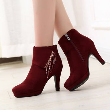 Rhinestone High Heels Platform Boots Shoes Woman