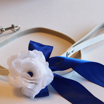 Royal blue Custom Leash, Pet Wedding accessory, High quality, Floral