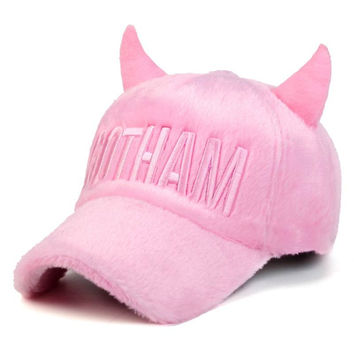 Horn Plush Keep Warm Female Baseball Cap Halloween Hat Women Winter Hat Lady Autumn Warmth Visor