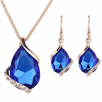 N228 4 colors Luxury Jewelry Sets Big Crystal Pendant Necklace / Drop Earrings Fashion Bijoux Lady Party Gift