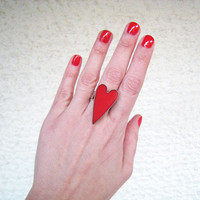Valentine Red Heart statement ring. Minimal big bold cocktail ruby coral carmine silver adjustable glass modern greek jewelry custom color