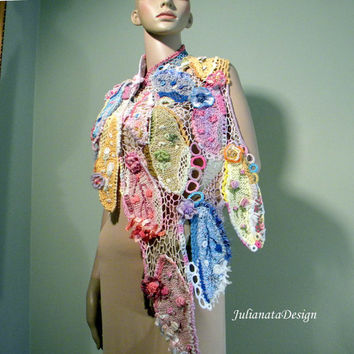 COLOR MEDLEY EXTRAVAGANCE -  Shawl/Stole/Capelet/Apron, Wearable Fiber Art, Freeform Crocheted, Top Quality Italian Yarns