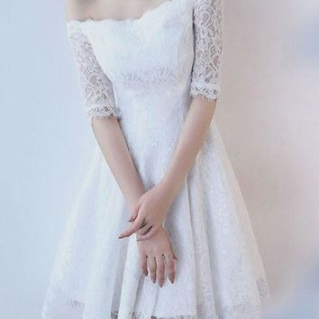 White Lace Draped Off Shoulder Backless Elegant Sweet Party Midi Dress