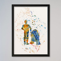 R2D2 C3PO Watercolor Print Wall Decor Fine Art Giclee Print Poster Star Wars Wall Hanging StarWars Watercolor Print Poster Nursery Art