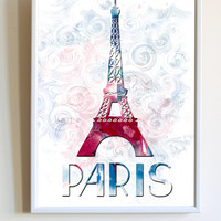 Watercolor Paris Print Pink Blue Eiffel Tower France Poster Bedroom Decor Wall Art
