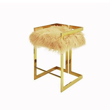 Worlds Away Emmet Counter Stool With Mongolian Fur