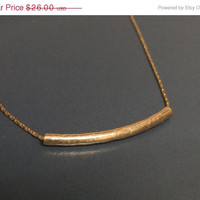 SALE 20% Gold tube necklace, Curved bar necklace, Gold layering necklace, Delicate gold filled necklace