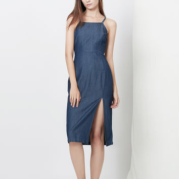 LE3NO Womens Lightweight Sleeveless Denim Tencel Midi Dress