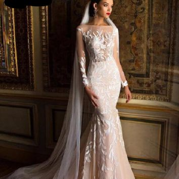 Quality Mid East Mermaid Wedding Dresses Full Sleeves Embroidery applique Sexy Wedding Gown
