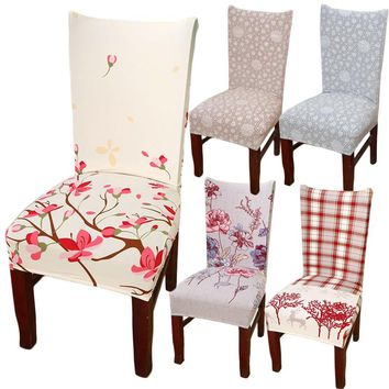 Hyha Spandex Elastic Flower Printing Chair Cover protective Slipcover Anti-dirty Dining Chair Seat Cover Case for Banquet Party