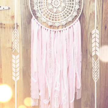 White & Pink Crochet Doily Lace Fabric Dreamcatcher // Baby Nursery // Shabby Chic // Girly // Baby Shower
