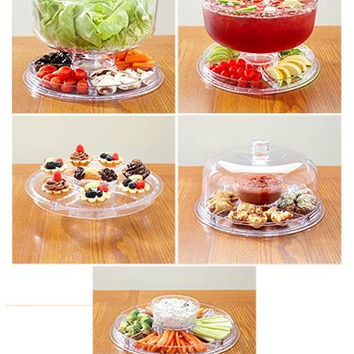 Multi-Functional Server Cake Stand Salad Bowl Domed Punch Pie Plate Appetizers