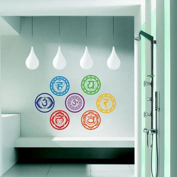 7pc Chakra Mandala Meditation Removable Vinyl Wall Decal, 7x7in