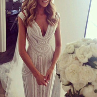Country Western Gothic Wedding Dresses Luxurious Pearls Mermaid Sexy Backless