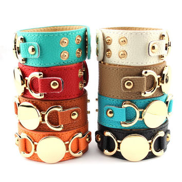 2016 New Style Monogram Leather Cuff Bracelets for Women Pulseras Blank Gold Plated Genuine Leather Bracelet Men Snap Jewelry