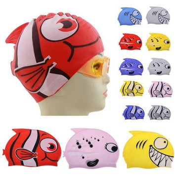 DCCKL72 Hot Lovely Children Cartoon Swimming Cap Silicon Diving Waterproof Protect Ear Fish Shape Swimming Caps EA14