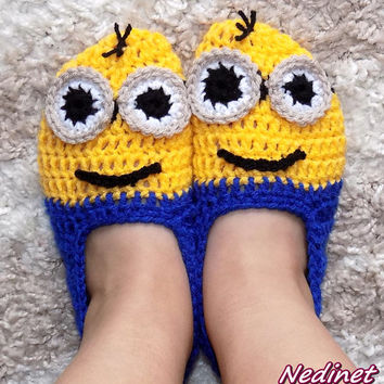 Crochet Minion slippers, INSTANT DOWNLOAD pattern, Baby to Adult size