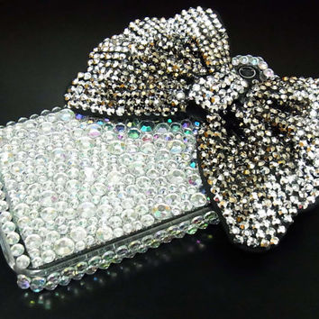 Bling Rhinestone Crystal Shine Silver Bow Black Ribbon Hard Case Cover for Apple IPhone 4 case, iphone 4G case, iphone 4S case DS