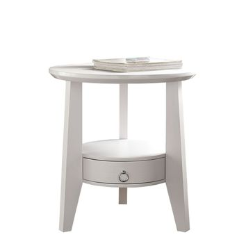 "White 23""Dia Accent Table With 1 Drawer"