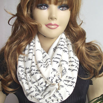 Emily Dickinson Text Infinity Scarf, LOVE Poem Scarf, Circle Scarf, Screen printed, Cowl Scarf, Romantic Gift