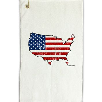 """United States Cutout - American Flag Distressed Micro Terry Gromet Golf Towel 11""""x19 by TooLoud"""