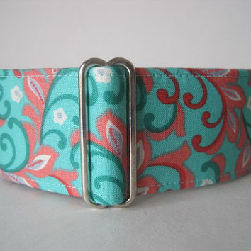 Mint Green Martingale Collar, 2 Inch Martingale Collar, Paisley, Coral Dog Collar, Greyhound Collar, Paisley Dog Collar, Custom