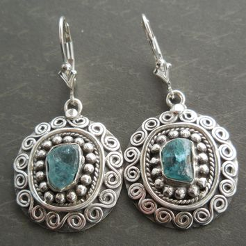 Apatite Rough .925 Sterling Silver Earrings