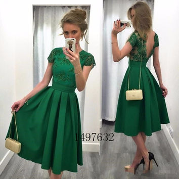 Dark Green Cocktail Dresses 2017 Backless A Line Appliques robe de cocktail Tea Length Party Gowns V Back Lace Formal Dress