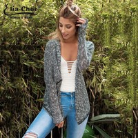 Autumn Lady Grey Thin Knitted Cardigans Women Fashion Full Sleeve Sweater Plus Size Casual Sweaters