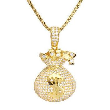 "Jewelry Kay style Men's Iced Gold Tone CZ Money Bag Pendant 24"" Box Chain Necklace BSH 13130 G"
