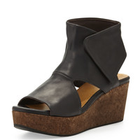 Mind Cutout Cork-Wedge Bootie - Coclico