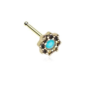 Golden Lotus Opal Sparkle Filigree Nose Stud Ring 20ga Surgical Steel Body Jewelry
