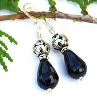Black Onyx Sterling Silver Handmade Earrings, Gemstone Dangle Jewelry