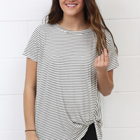Get Twisted Striped Version Comfy Short Sleeve Basic {Black}