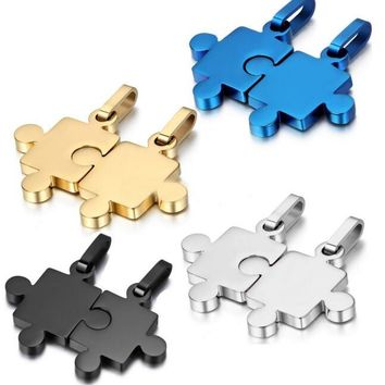 2pcs/set stainless steel heart puzzle pendant necklace BFF best friend forever love couple necklace wedding gifts accessories