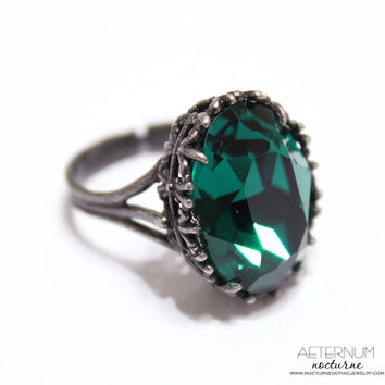 Gothic wedding ring, alternative engagement ring - antique silver, Emerald Swarovski crystal stone - Victorian Gothic jewelry