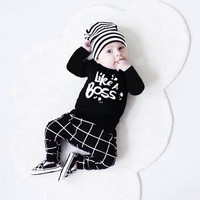 2017 Sping Baby boy clothes Fashion cotton long sleeve letter print LIKE A BOSS T-shirt+pants baby boys clothing set 2pcs sui