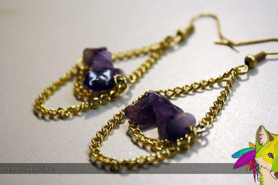 Amethyst and Gold Chandelier Earrings by NeonFoxBoutique on Etsy