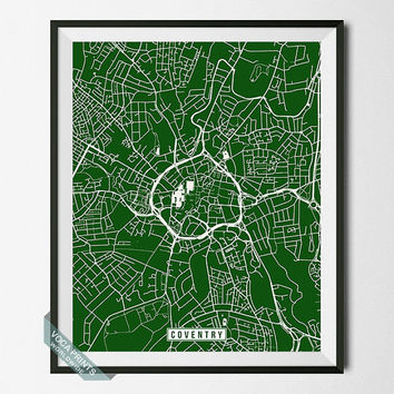 Coventry Print, England Poster, Coventry Poster, Coventry Map, England Print, England Map, Map Poster, Street Map, Wall Art