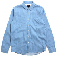Light Denim Button-Up Shirt Light Blue
