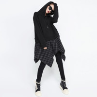 [XITAO] False Two Pieces Women 2018 Europe Fashion Hooded Collar Full Sleeve Asymmetrical Plaid Casual Pullovers Hoodies GWY2374-in Hoodies & Sweatshirts from Women's Clothing & Accessories on Aliexpress.com | Alibaba Group