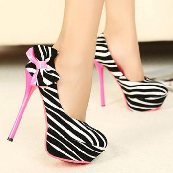 Fashion Round Closed Toe Zebra Print Stiletto High Heels Yellow Suede Pumps