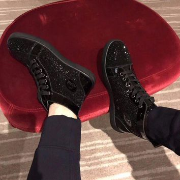 Christian Louboutin Cl Louis Strass Mens Flat Black Shoes - Beauty Ticks
