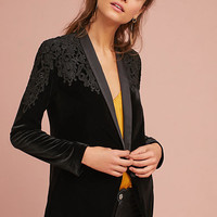 Embroidered Velvet Blazer